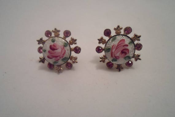 Antique Vintage Hand Painted Enameled Celestial Pierced Earrings Superb Quality Backs Dainty Intricate work Cottage Rose