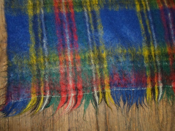 Vintage Mid Century fuzzy Mohair and Wool Blanket Throw Fantastic Colors Cottage Ready Farm House Cool Decorator Colors