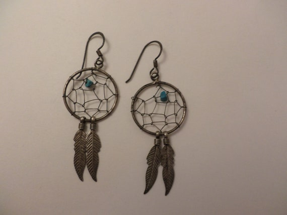 Vintage 80's Dream Catcher feather dangle earrings sterling silver turquoise