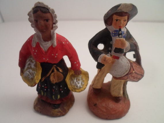 Vintage Santon Figures Woman Holding Baskets Man playing flute and drum Original FW Woolworth Price tag