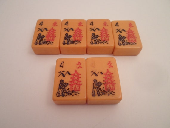 Antique 6 Mahjong Butterscotch Matching Bakelite Game Tiles Pagoda Figures Symbols for Jewelry Making or Collection All #4 some fade