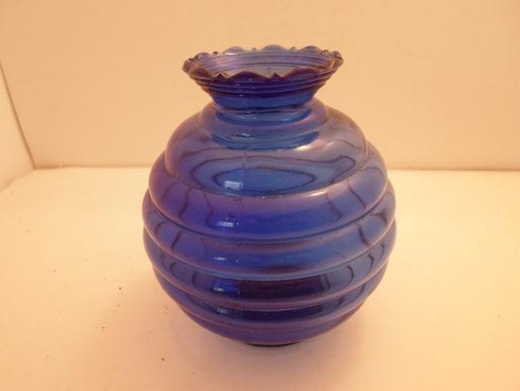 Art Deco Original Cobalt Blue Round Rings Table Vase Manhattan Style Pattern Stunning Color