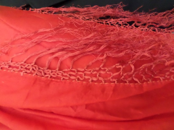 vintage cherry red silk fabulous gypsy scarf shawl best color ever!