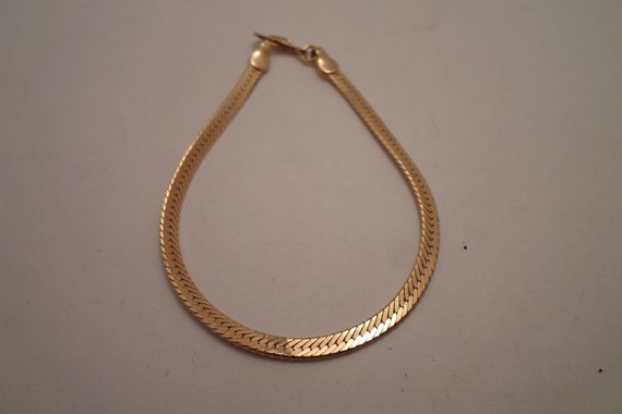 Vintage Flat Herringbone Gold tone Bracelet 1970's Studio 54 Saturday Night Fever Travolta Era Super Cool