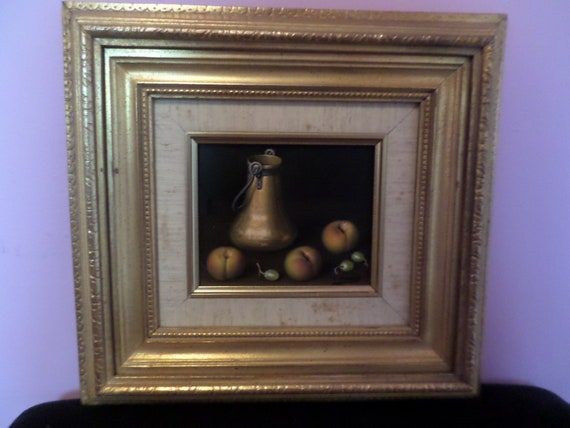 Fabulous Oil Painting L Pizarro Peaches, copper pot still life framed Antique