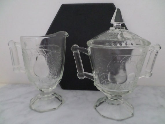 vintage 1950's Jeannette pattern glass Baltimore pear sugar bowl, lid and creamer