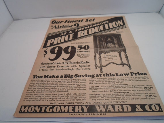 Art Deco Montgomery Ward Advertising Sale Hand Bill for Airline Radios and Tubes 1930's Found in Indiana Estate Frame Ready Decorator cool