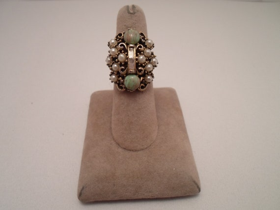 Vintage 1960's Hollycraft cocktail ring Pearls Jade Baguettes Marked on band
