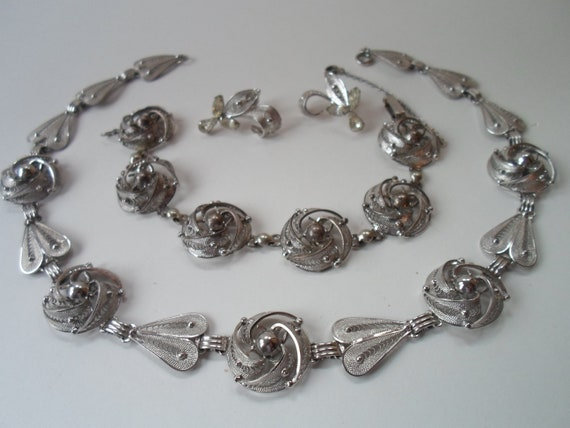 Vintage Sterling Silver 3 piece Set Necklace Bracelet and Earrings Detailed