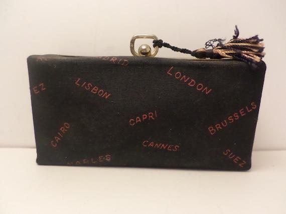 Vintage 50's MCM box clutch purse  evening bag London Capri Cairo Cannes travel chic