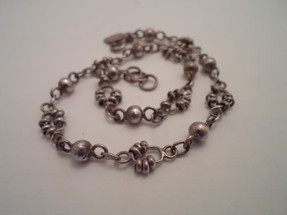 Vintage Sterling Silver Ankle Bracelet Ball and Chain Design Very Cool Anklet