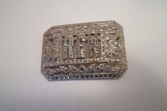 Art Deco 30s REN initial Silver Marcasite Monogram Pin Brooch Stunning Condition Chicago Family Estate Find Superior Quality