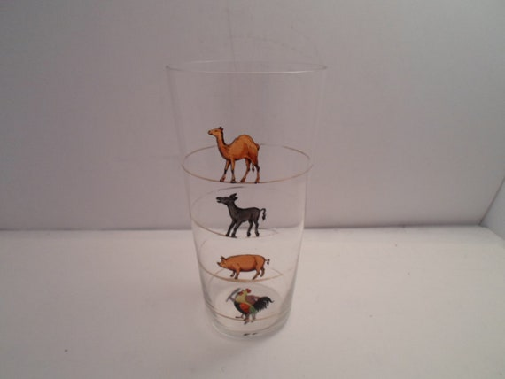 Vintage Barware Paneled Glass Tumbler Measuring Drinking Ability by Figures of Camel Pig Donkey Rooster Caveman on Bottom use or Re purpose