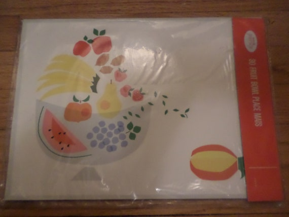 New unopened 60's KVP purity paper placemats MOD fruitbowl cubist chic 30 pages