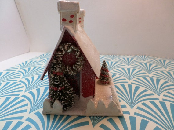 Vintage ornament SCF trademark 06 Putz Mica retro red and white chalet house from glitter village Christmas decor