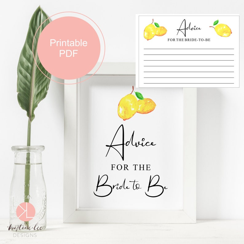 Party Games Instant Download Lemon Bridal shower Bridal Shower Advice Cards Advice for the bride-to-be Sign Printable Advice Card