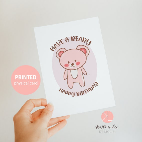 Beary Good Series Sleepy Bear Cute Bear Print Birthday CelebrationBearKawaiiPrintPostcard