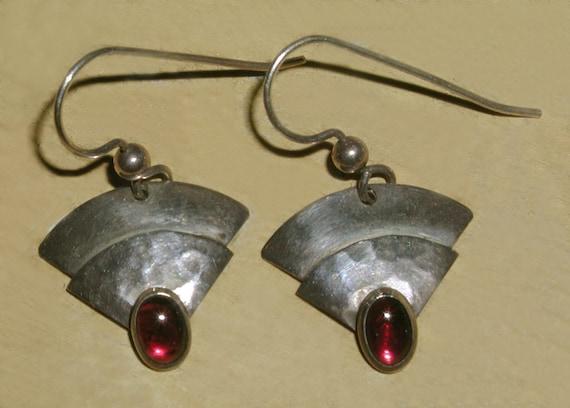 Fabulous Vintage Artisan Designer Black Druzy Gemstone Organic Textured Bronze Over Silver Modernist Disc French Hook Pierced Drop Earrings