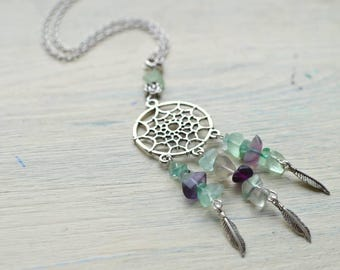 Fluorite Dream catcher necklace, Quartz necklace, Gemstone necklace / Necklace, Pendant, Charm Boho necklace / Gypsy Hippie Festival jewelry