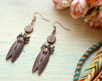 Copper Cicada Earrings, Bugs earrings, Tribal Handmade Earrings, Fun Earrings, Earthy earrings, Boho Gypsy