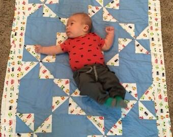 Pin Wheel Baby Quilt Blanket