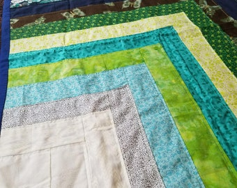 Boy Blue And Green Baby Quilt Blanket Baby Shower