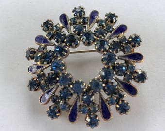 Vintage Blue Rhinestone Blue Enamel Circle Burst Pin