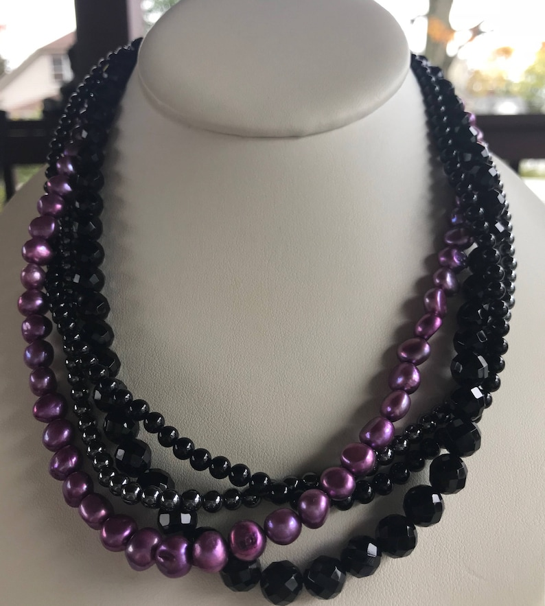 Vintage ESTATE Purple Pearl and Onyx Bead Multi Strand Necklace 14K French