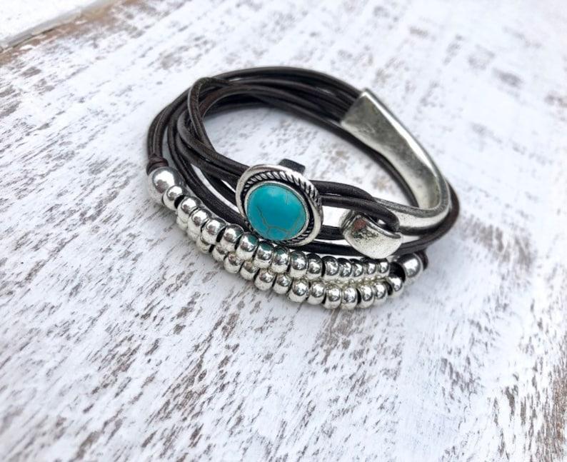 Wrap Women Bracelet Turquoise Bracelet Boho Beaded Bracelet Multistrand Wrap Bracelet Silver Plated Beads Gift For Women