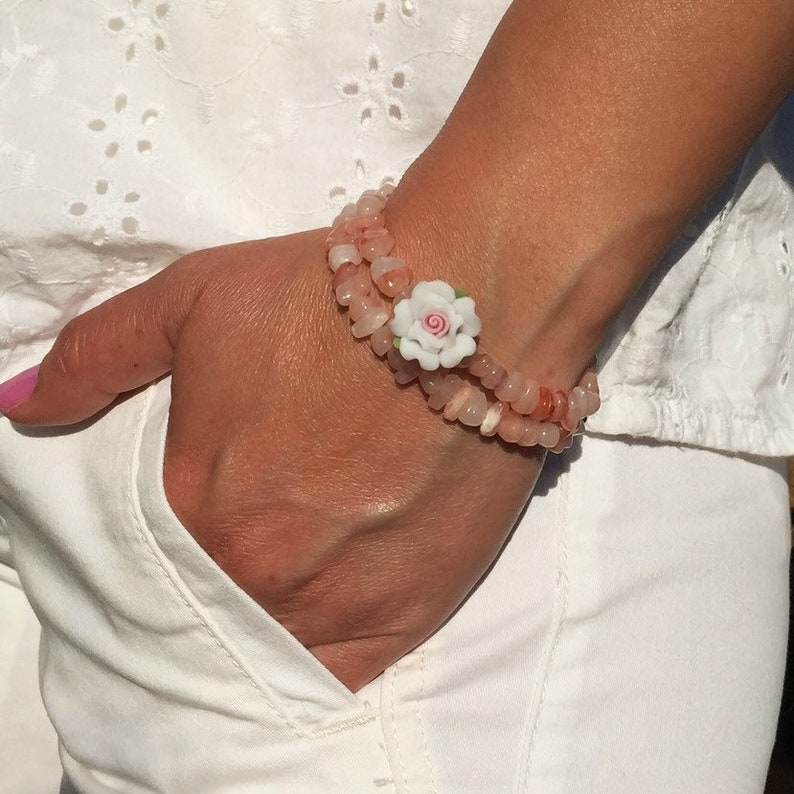 Women/'s Beaded Bracelet Gemstone Bracelet Set Of 2 Bracelets Stackable Rose Bracelet Stretch Bracelet Gift For Women