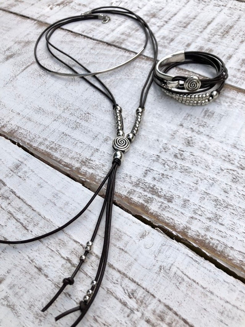 Women/'s Leather Necklace Lariat Necklace Wrap Long Boho Necklace Silver Plated Multistrand Necklace Gift For Women