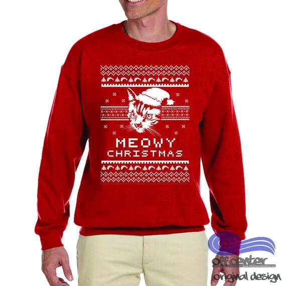 Meowy Christmas Sweater.Meowy Christmas Meowy Christmas Sweater Funny Holiday Sweater Funny Cat Sweater Ugly Christmas Sweater Couple Ugly Christmas Sweater Party