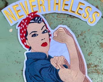 She Persisted Feminist Fist Denim Sew-on Patch