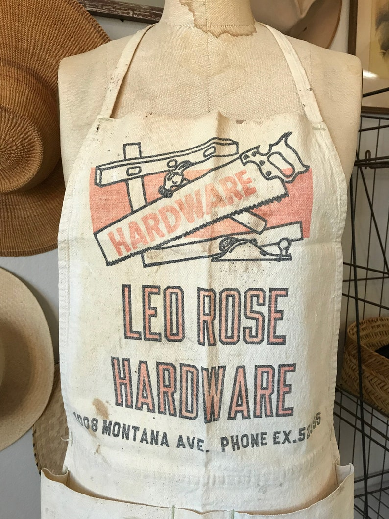 Leo Rose Hardware Store Calif 1930/'s Work Apron Santa Monica