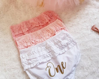 One Frilly Knickers  1st birthday  bloomers  girls pants  cake smash    personalised    underwear  nappy cover   white   pink   baby 4973f144c
