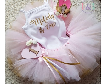 1st Birthday Tutu Outfit Cake Smash Dress Babys Personalised Pink Girls Baby Girl
