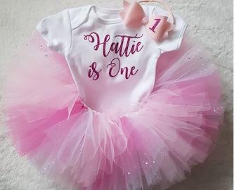 f24345b83 1st Birthday pink tutu, pastel, Tutu outfit, cake smash outfit, tutu dress,  babys birthday, personalised birthday outfit, pink tutu