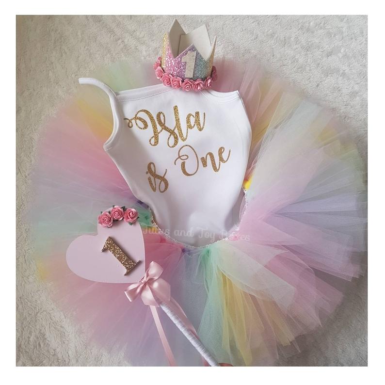 ed3ae5383 1st Birthday tutu pastel rainbow Tutu outfit cake smash   Etsy