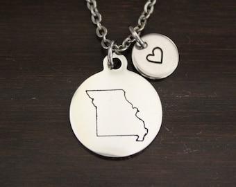 missouri state Louis MO gateway city Missouri Necklace state of missouri St Silver Missouri State Necklace
