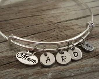 Mom Bangle - Mom Bangle with Initials - Mom Gift - Mom Initials- Initials Bangle - Bst/In