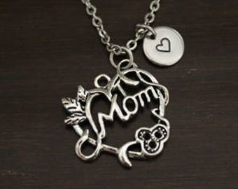 mom flower vine heart necklace mom gift mom jewelry mom christmas gift gift for mom ibh