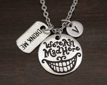 We're All Mad Here Necklace - Alice in Wonderland Necklace - Drink Me Necklace - Alice In Wonderland Jewelry - We're All Mad Jewelry - I/B/H