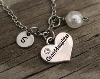 47d9bc93e Granddaughter Necklace - Granddaughter Gift - Granddaughter Jewelry - I/B