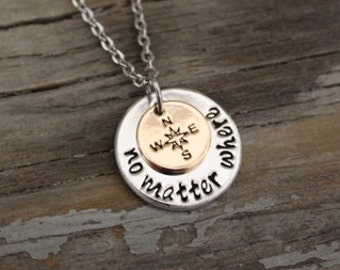 No Matter Where Compass Necklace - Missing You Necklace - Reminder Necklace  - Long Distance Relationship Gift - Moving Away Gift Jewelry