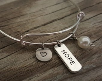 Hope Bangle - Inspirational Bangle - Hope Bracelet - Hope Jewelry - I/H&B