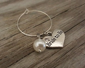 Bride to Be Wine Glass Charm - Wine Charm - Wedding Wine Glass Ring Charm - Bride to Be Gift - Bachelorette Party Gift - Wedding Day - Bead