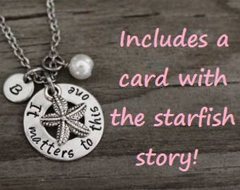 It Matters To This One Starfish Necklace - Foster Care Necklace - Foster Parent Necklace - Adoption Necklace - Social Worker Gift - Adoptee