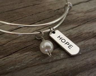 Hope Bangle - Inspirational Bangle - Hope Bracelet - Hope Jewelry - I/B/H