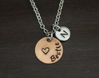 Bestie Necklace - Hand Stamped Necklace - Best Friend Gift - Friend Gift - Bestie Gift - Bestie Present - Best Friend Necklace - I/B