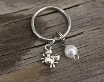 Crab Key Ring/ Keychain / Zipper Pull - Crab Gift - Beach Lover - Crabby Patty - I/B/H